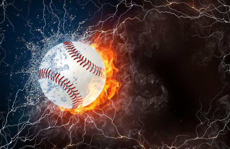 Softballbal in brand en water stock illustratie