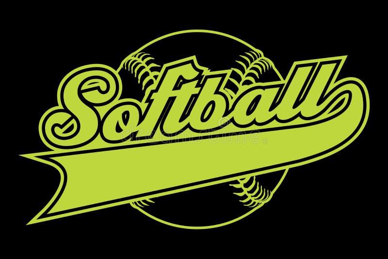 Softballontwerp met Banner royalty-vrije illustratie