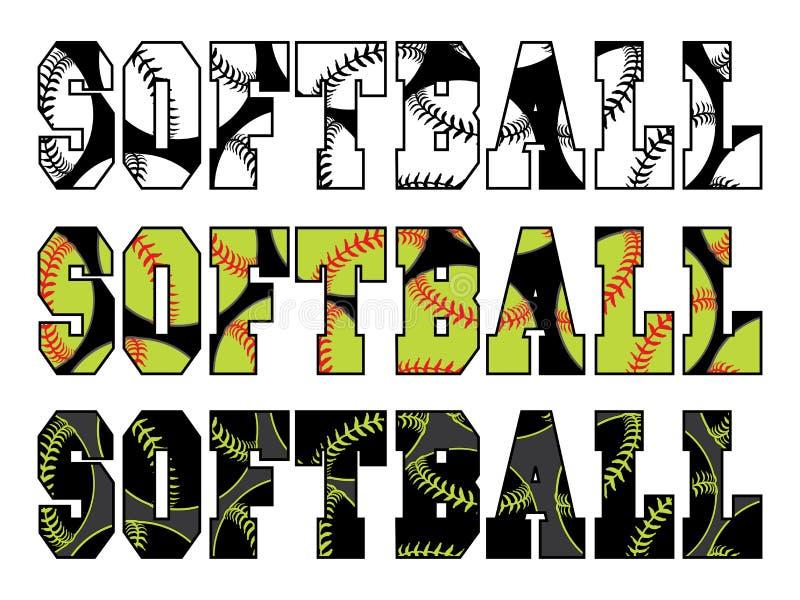 Softballtekst met Softballs stock illustratie