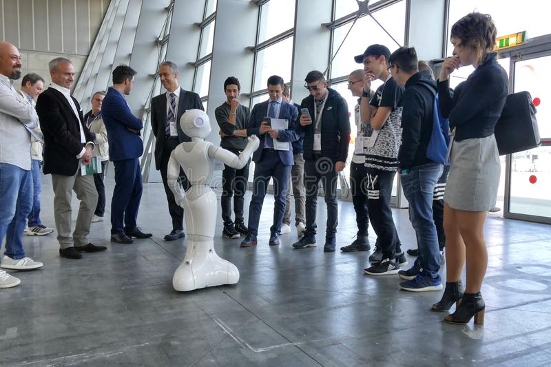 Softbank Pepper robot provide assistance in automation fair stock photo
