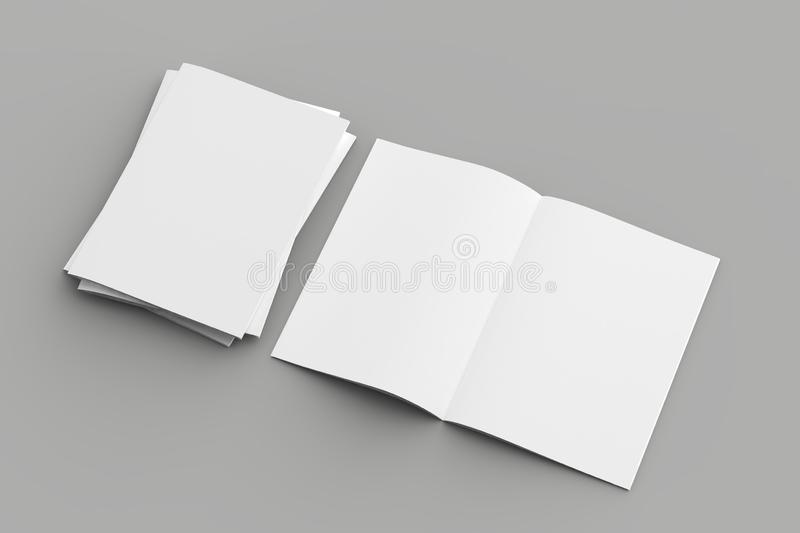 Softcover magazine or brochure mock up isolated on soft gray background. 3d illustration vector illustration