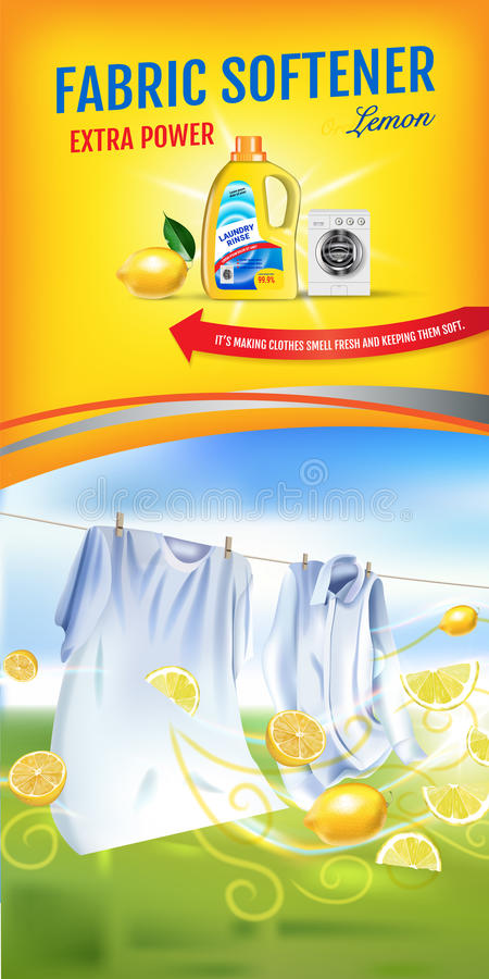 Softeneren för citrondofttyg stelnar annonser Sköljer den realistiska illustrationen för vektorn med tvätterikläder och softenere stock illustrationer