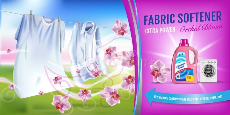 Softeneren för orkidédofttyg stelnar annonser Sköljer den realistiska illustrationen för vektorn med tvätterikläder och softenere stock illustrationer