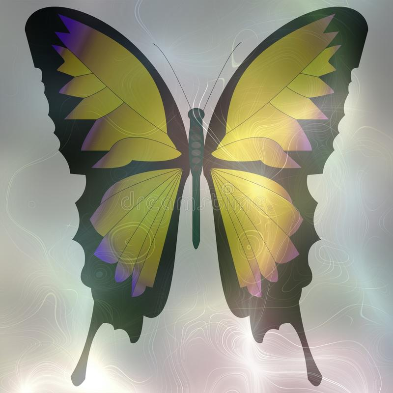 Softly rendered image of a butterfly with pastel colors to smoke background. Decorative fantasy background tile. vector illustration
