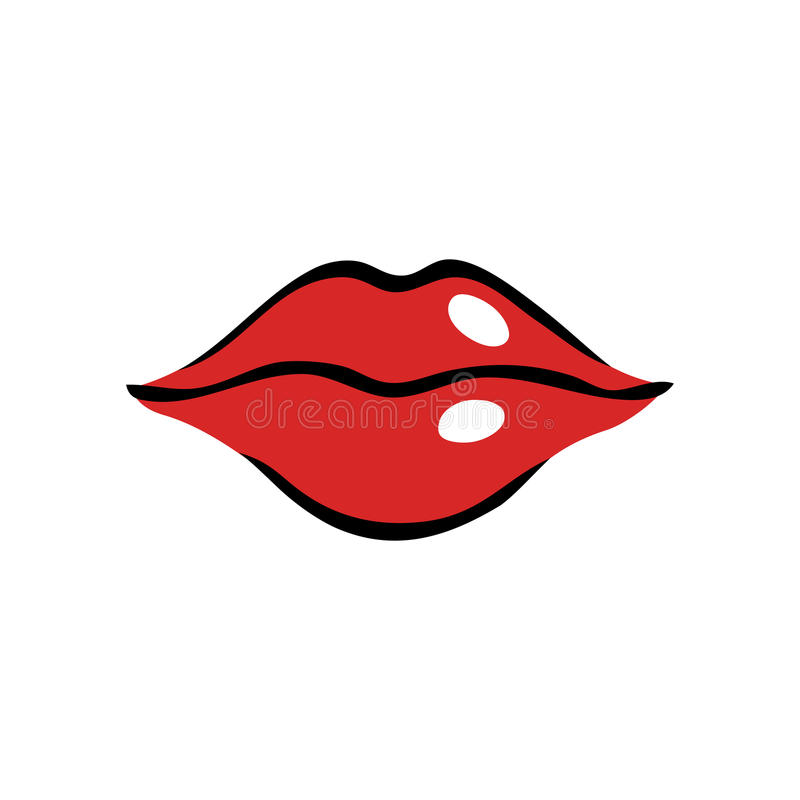 Softly smiling female mouth with red lips stock illustration