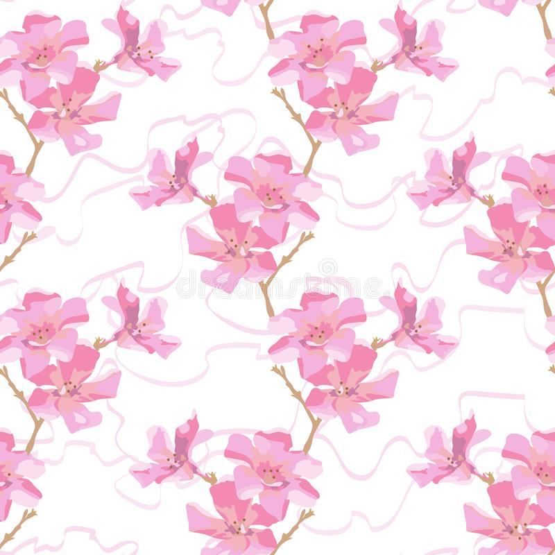 Softness floral pattern. Pink oleander flowers and curly ribbon on white background. stock illustration