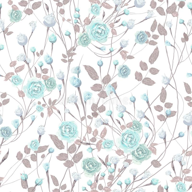 Many Softness Blue rose and bud flowers with brown leaves on white background royalty free illustration