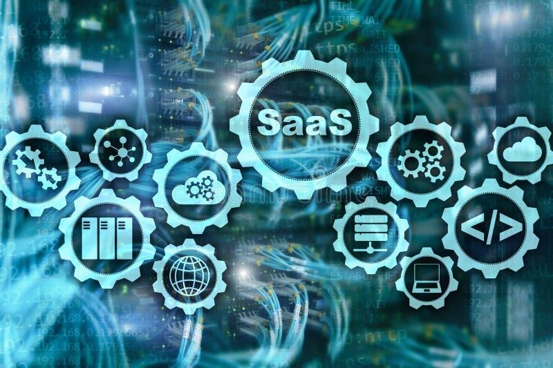 Software als Service SaaS Software-Konzept Modernes Technologiemodell auf einem Serverraumhintergrund des virtuellen Schirmes stock abbildung