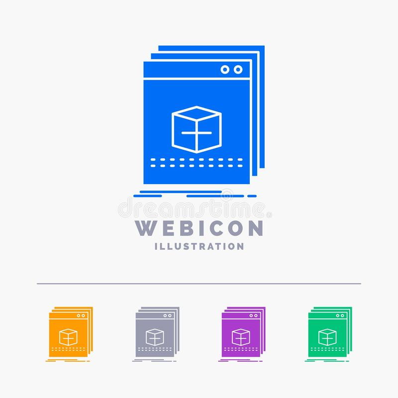 Software, App, Anwendung, Datei, Programm 5 Farbeglyph-Netz-Ikonen-Schablone lokalisiert auf Weiß Auch im corel abgehobenen Betra vektor abbildung