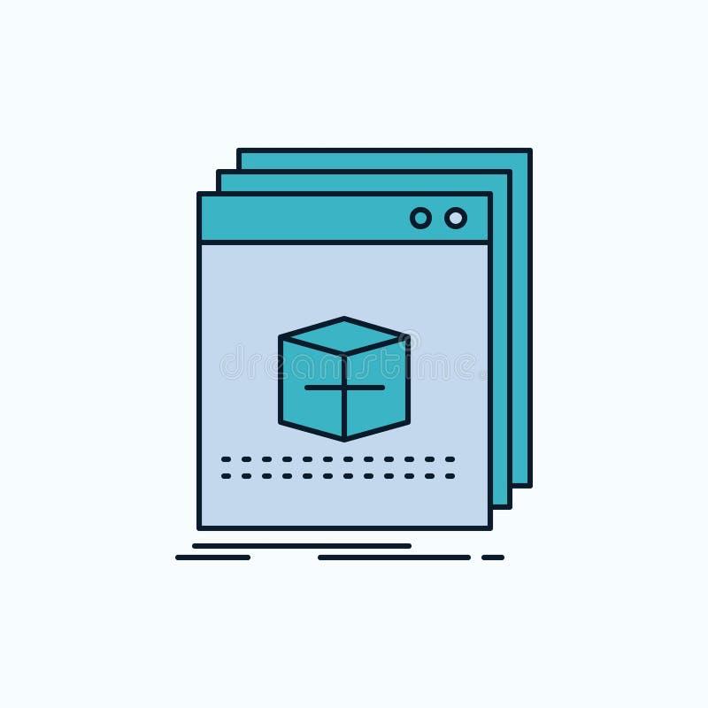 Software, App, Anwendung, Datei, Programm flache Ikone r Vektor lizenzfreie abbildung