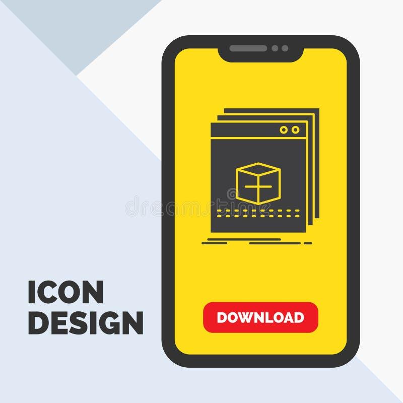 Software, App, Anwendung, Datei, Programm Glyph-Ikone im Mobile für Download-Seite Gelber Hintergrund stock abbildung
