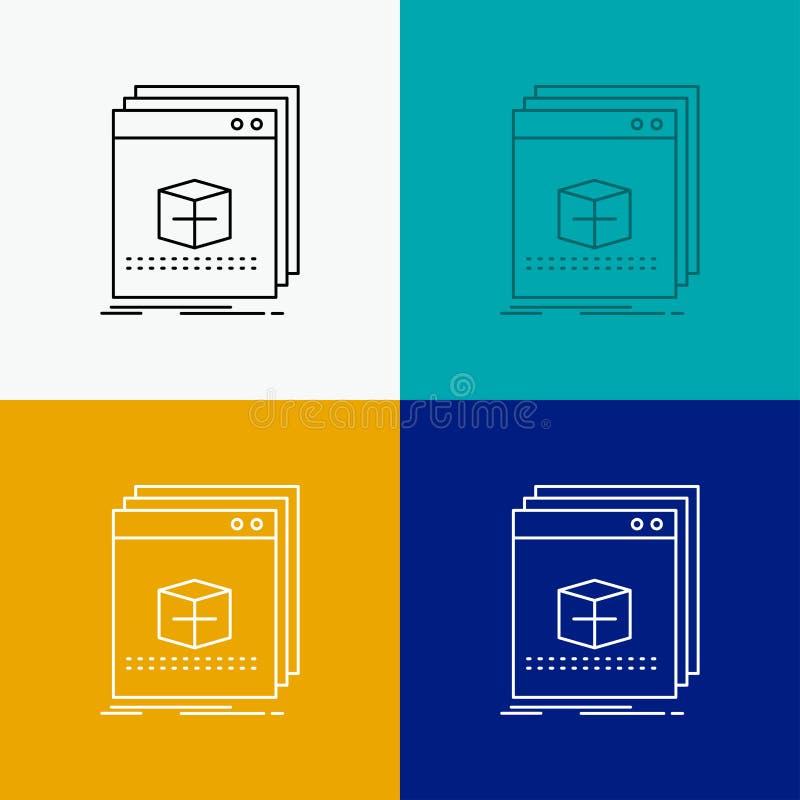 Software, App, Anwendung, Datei, Programm Ikone über verschiedenem Hintergrund r Vektor ENV 10 vektor abbildung