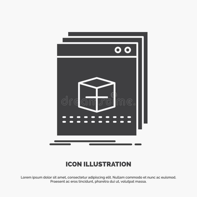 Software, App, Anwendung, Datei, Programm Ikone graues Symbol des Glyphvektors f?r UI und UX, Website oder bewegliche Anwendung vektor abbildung