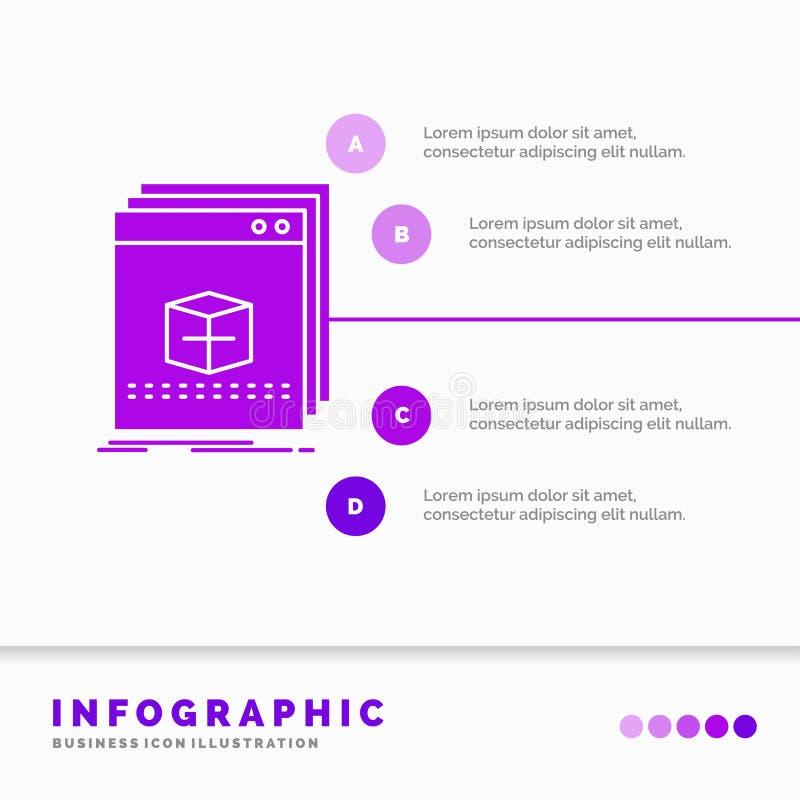 Software, App, Anwendung, Datei, Programm Infographics-Schablone für Website und Darstellung Infographic Art der purpurroten Ikon vektor abbildung