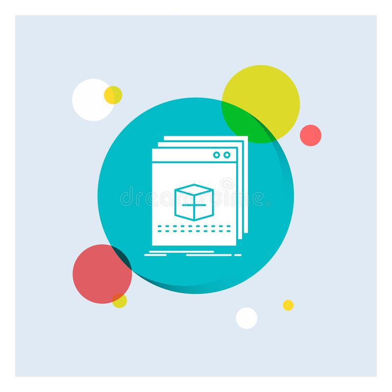Software, App, Anwendung, Datei, Programm weiße Glyph-Ikonen-bunter Kreis-Hintergrund lizenzfreie abbildung