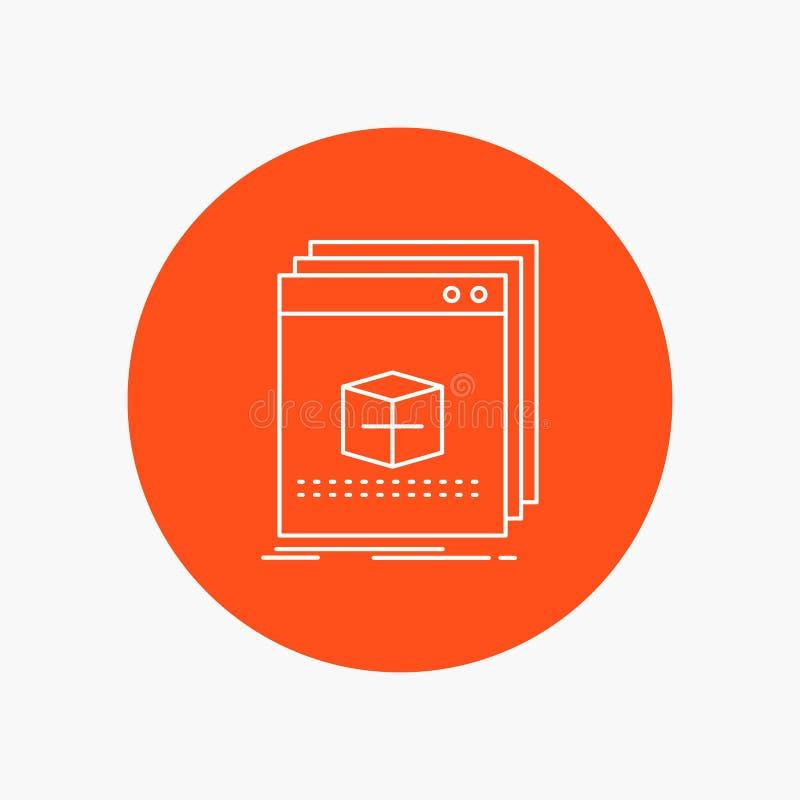 Software, App, Anwendung, Datei, Programm weiße Linie Ikone im Kreishintergrund Vektorikonenillustration stock abbildung