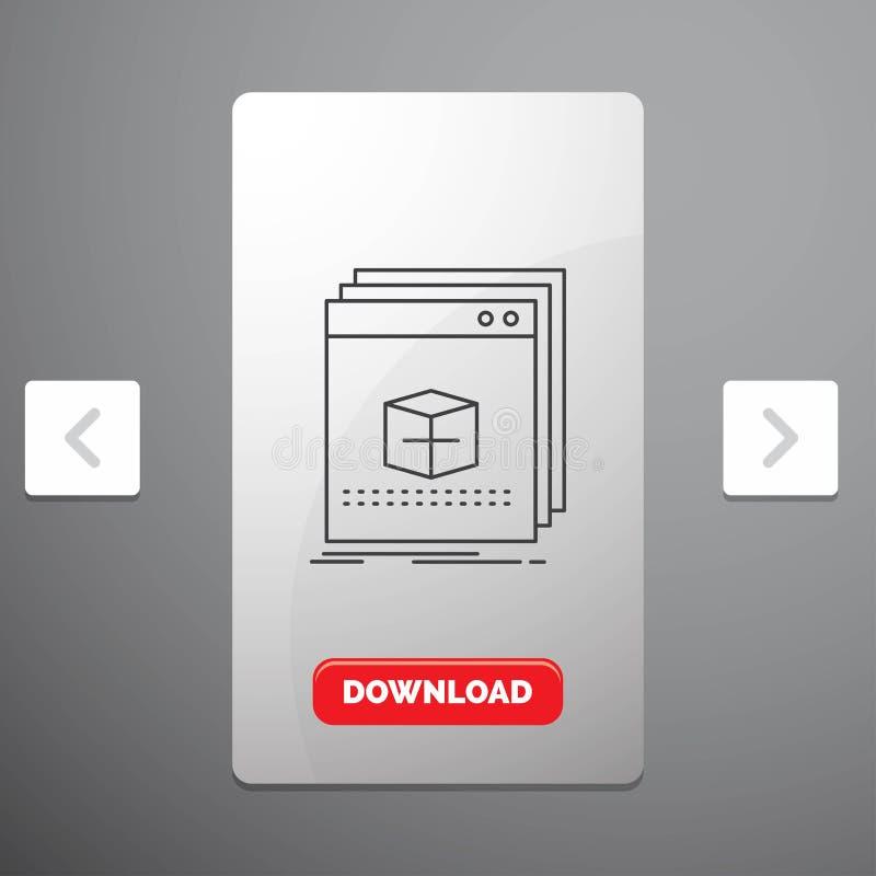 Software, App, Anwendung, Datei, Programmzeile Ikone im Carousals-Paginierungs-Schieber-Entwurf u. roter Download-Knopf stock abbildung