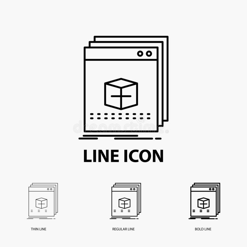 Software, App, application, file, program Icon in Thin, Regular and Bold Line Style. Vector illustration. Vector EPS10 Abstract Template background royalty free illustration
