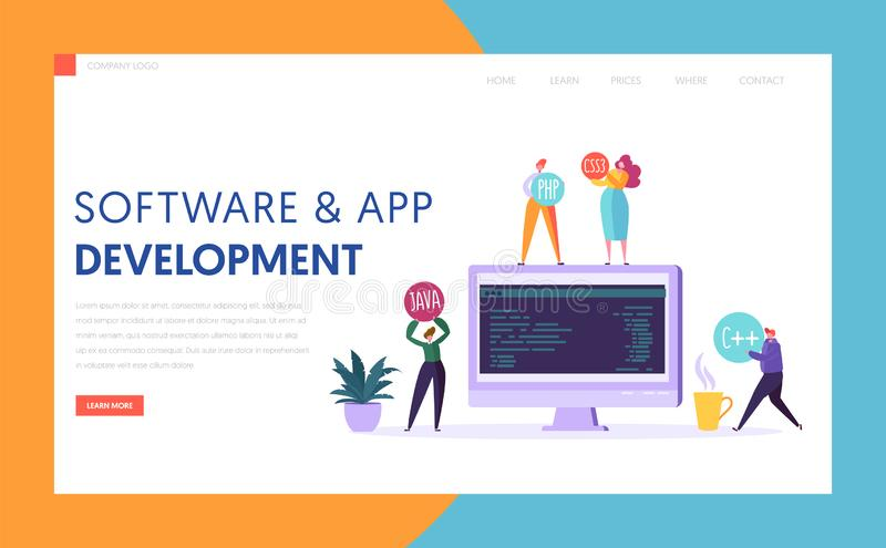 Software App Development Technology Agency Landing Page. Monitor on Office Desk Professional Teamwork Mobile Application. Software App Development Technology vector illustration