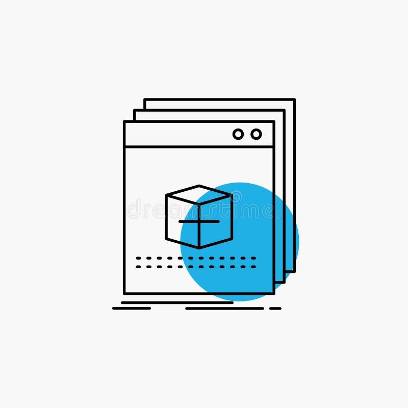 software, App, toepassing, dossier, het Pictogram van de programmalijn royalty-vrije illustratie