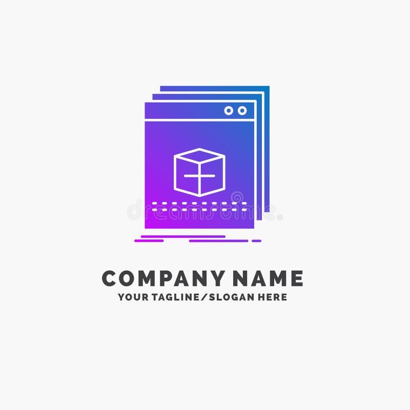 software, App, toepassing, dossier, programma Purpere Zaken Logo Template Plaats voor Tagline vector illustratie