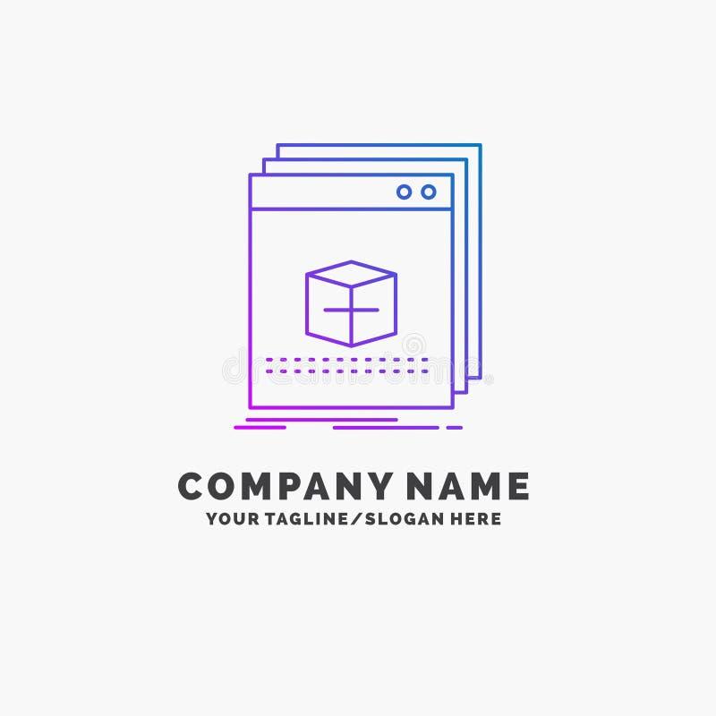 software, App, toepassing, dossier, programma Purpere Zaken Logo Template Plaats voor Tagline stock illustratie