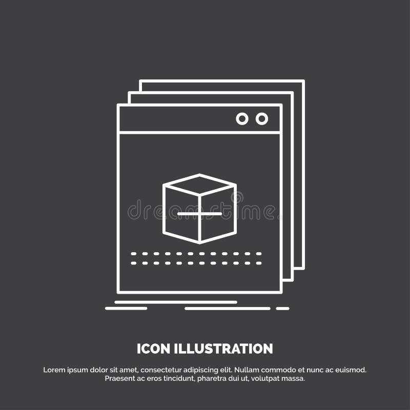 software, App, toepassing, dossier, programmapictogram Lijn vectorsymbool voor UI en UX, website of mobiele toepassing stock illustratie