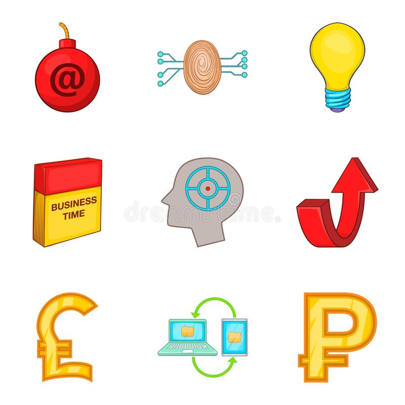 Software application icons set, cartoon style. Software application icons set. Cartoon set of 9 software application icons for web isolated on white background vector illustration