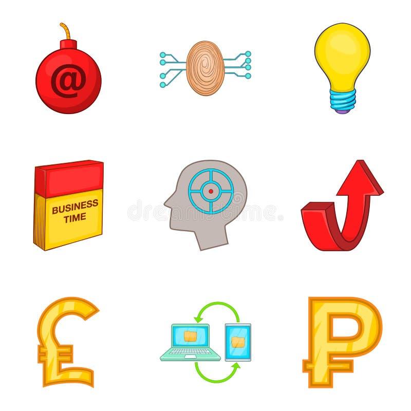 Software application icons set, cartoon style. Software application icons set. Cartoon set of 9 software application vector icons for web isolated on white royalty free illustration