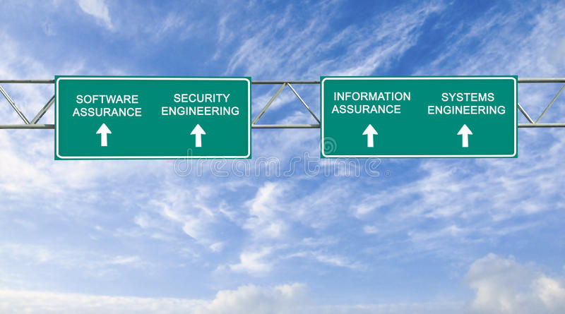 Software assurance and security engineering word stock photos