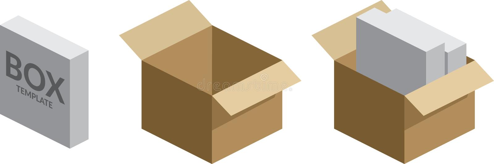Software Box / packed boxes Vector Illustration. Isometric 3d Boxes with software boxes stock illustration