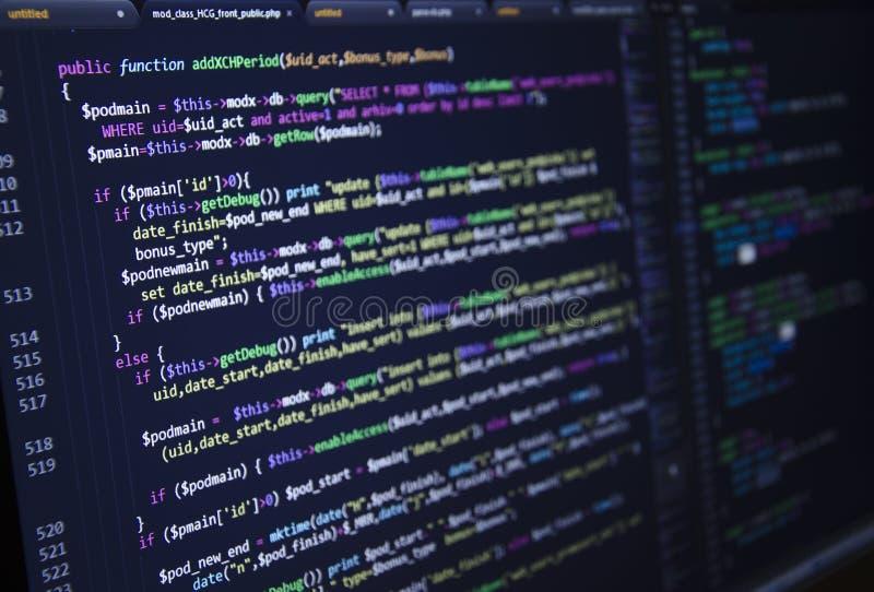 Software broncode Freeware open bronproject Ontwikkelt programmering en coderend technologieën Software broncode CSS, Jav royalty-vrije stock afbeeldingen
