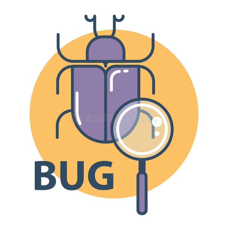 Software bug searching icon. Program error concept. Flat design vector illustration stock illustration