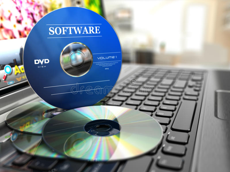 Software CD on laptop keyboard. Compact disks. royalty free illustration