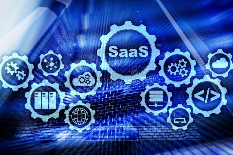 Software como um servi?o SaaS Conceito de software Modelo moderno da tecnologia em um fundo da sala do servidor da tela virtual ilustração royalty free