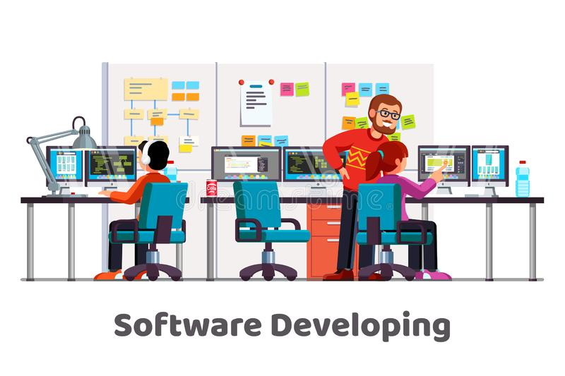 Software company team work coding at office vector illustration
