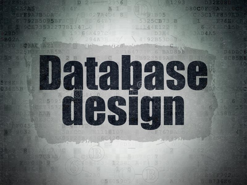 Software concept: Database Design on Digital Data Paper background. Software concept: Painted black text Database Design on Digital Data Paper background with vector illustration