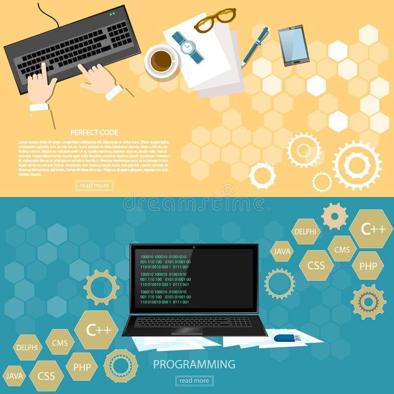 Software da tavolino di programmazione del programmatore del posto di lavoro illustrazione di stock