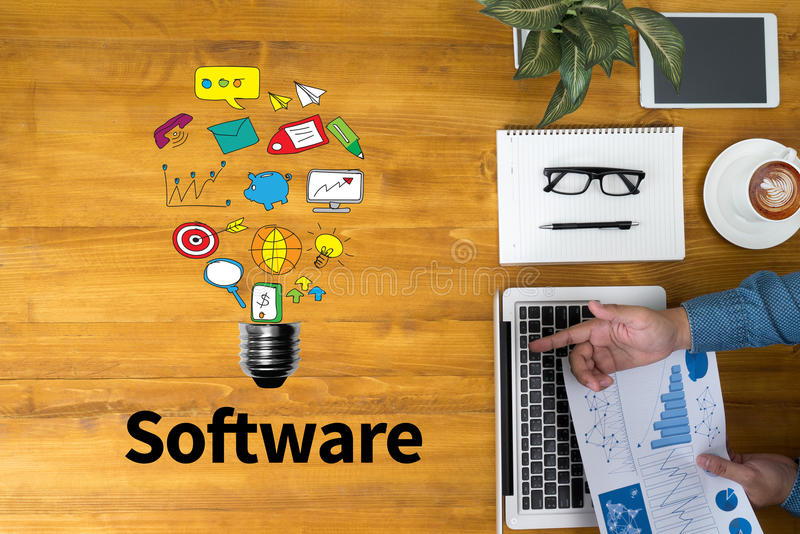 Software Data Digital Programs System Technology computer. Businessman working at office desk and using computer and objects, coffee, top view, with copy space vector illustration