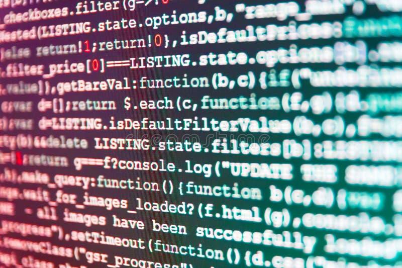Software-Datenkonzeptelement Programmiererarbeiten von Software Schirm am Arbeitsplatz des modernen Programmierers auf Vernetzung lizenzfreies stockbild