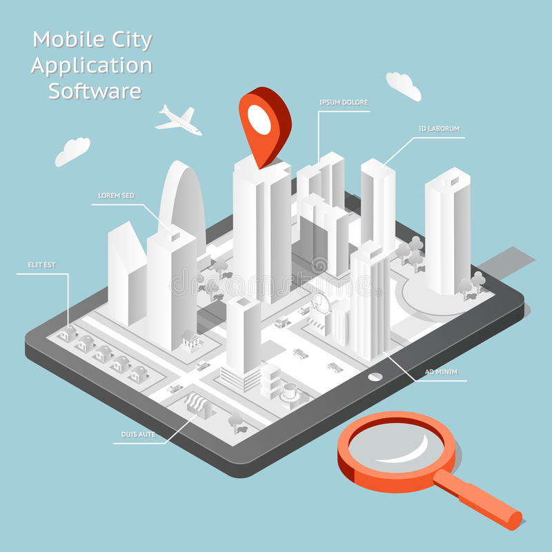 Software de aplicación móvil de papel de la navegación de la ciudad ilustración del vector