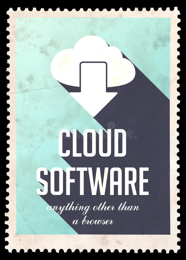 Software de la nube en azul claro en diseño plano. libre illustration
