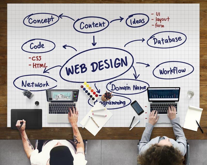 Software de red programado de la creatividad de las ideas del diseño web concentrado fotos de archivo