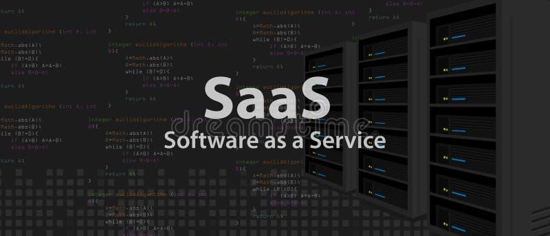 Software de SaaS como línea de código del servicio de uso programado de Internet stock de ilustración