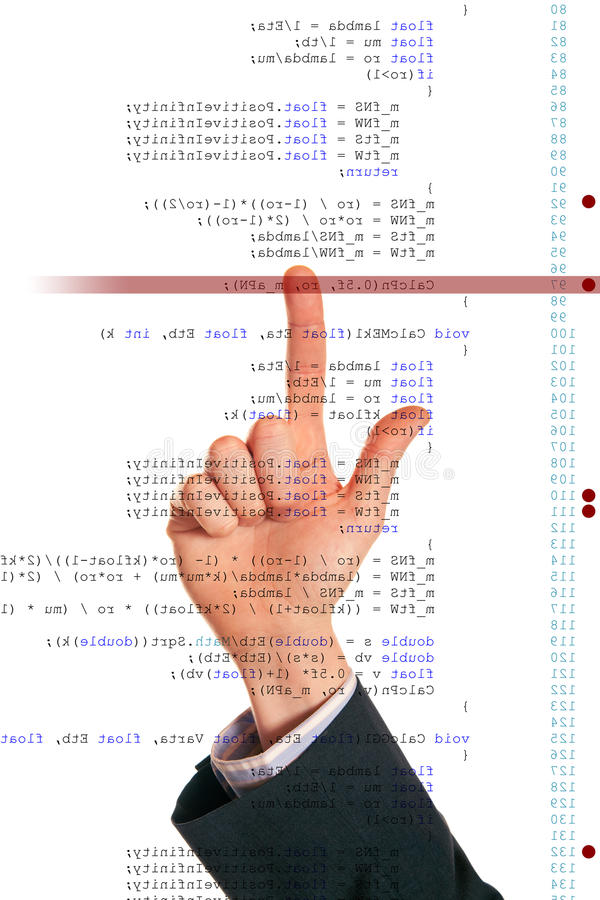 Software Debugging. A programmer is debugging his code code is mirrored horizontally royalty free stock photography
