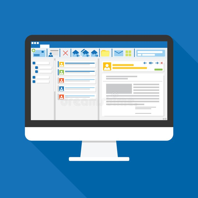Software del cliente de correo electrónico en icono plano de la pantalla de ordenador Concepto del asunto cosas de la oficina par ilustración del vector
