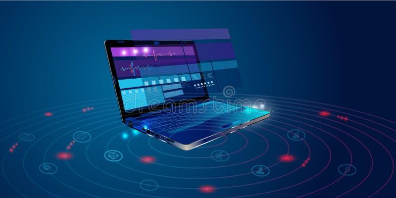 Software, desarrollo web, concepto de programación Lenguaje de programación y código de programa abstractos en el ordenador portá stock de ilustración