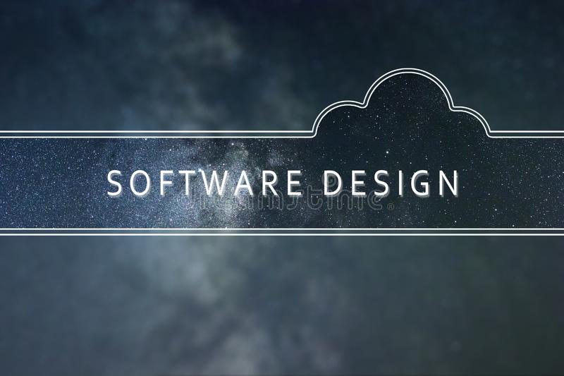 SOFTWARE DESIGN word cloud Concept. Space background. stock photos