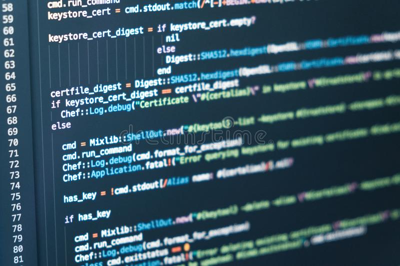 Software developer programming code. Abstract backgroung royalty free stock photo