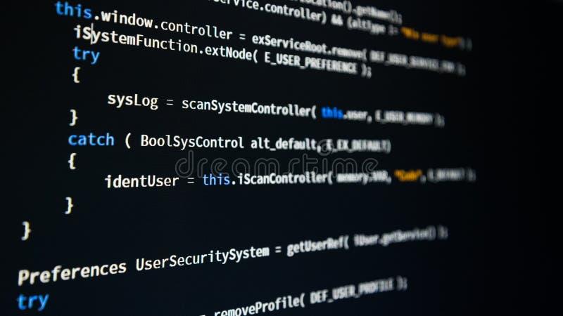 Software developer programming code stock image